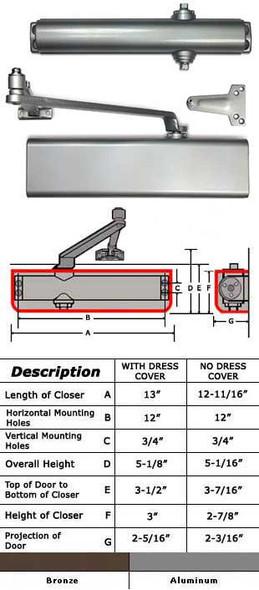 International 5001-TP Adjustable ADA Surface Mount Closer