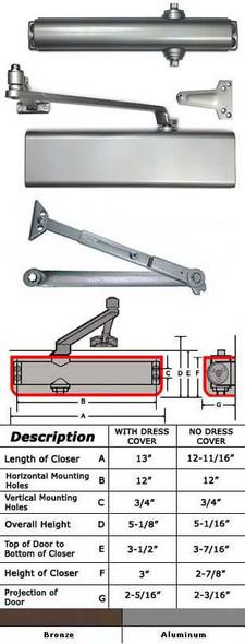 International 5001-TP Adjustable ADA Surface Mount Closer W/HO Arm
