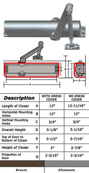 International 5051 Adjustable 8.5 lb Surface Mount Door Closer