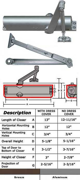 International 5152 Adjustable ADA 5 lb Surface Mount Closer W/ HO Arm