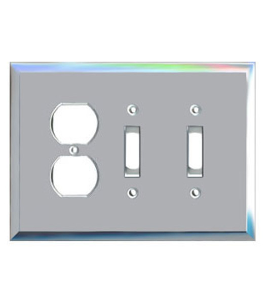 1 Duplex + 2 Toggle Glass Mirror Outlet Cover Plate