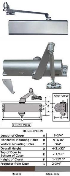International 8052-TP Adjustable Interior Surface Door Closer
