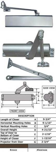 International 8052-TP Adjustable Interior Surface Door Closer W/HO Arm