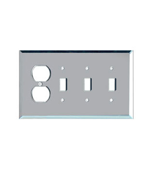 1 Duplex + 3 Toggle Glass Mirror Outlet Cover Plate