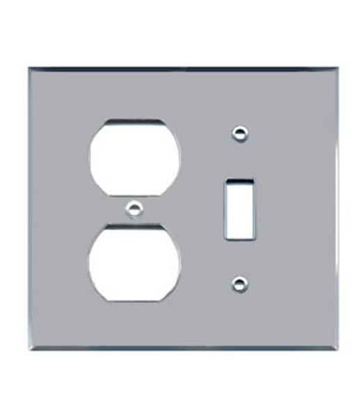 1 Toggle + 1 Duplex Acrylic Mirror Outlet Cover Plate