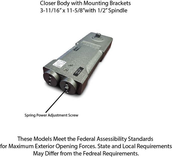 International Adjustable D313 ADA OH Closer Body - 90 No Hold Open