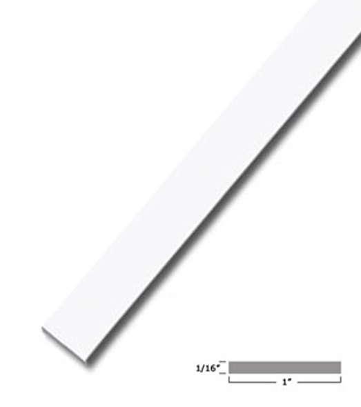 "1"" X .075"" White Vinyl Flat Bar Window Trim with Tape -12 ft Long"