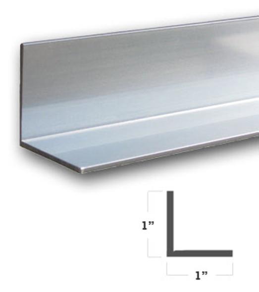 "1"" x 1"" x 1/16"" Aluminum Angle Anodized Bright Silver Finish 47-7/8"""