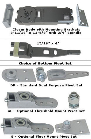 "International Medium Concealed Closer Kit- 3/4"" Long Spindle - Short Arm - 105 NHO"