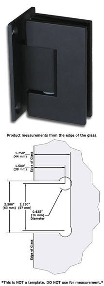 Matte Black American Classic Wall Mount Full Back Plate Shower Door Hinge