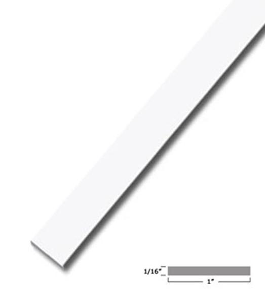 "1"" X 1/16"" Aluminum Flat Bar Trim White Finish with Tape 47-7/8"" Long"