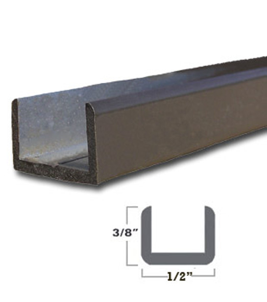 "Oil Rub Bronze Aluminum Shallow U-Channel for 3/8"" Glass 47-7/8"" Long"