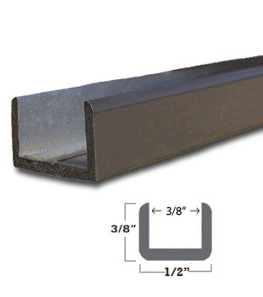 "Oil Rub Bronze Aluminum Shallow U-Channel for 3/8"" Glass 95"" Long"