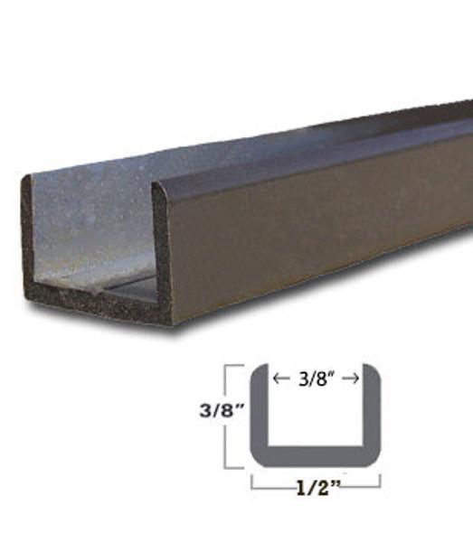 "Oil Rub Bronze Aluminum Shallow U-Channel for 3/8"" Glass 95"" Long"