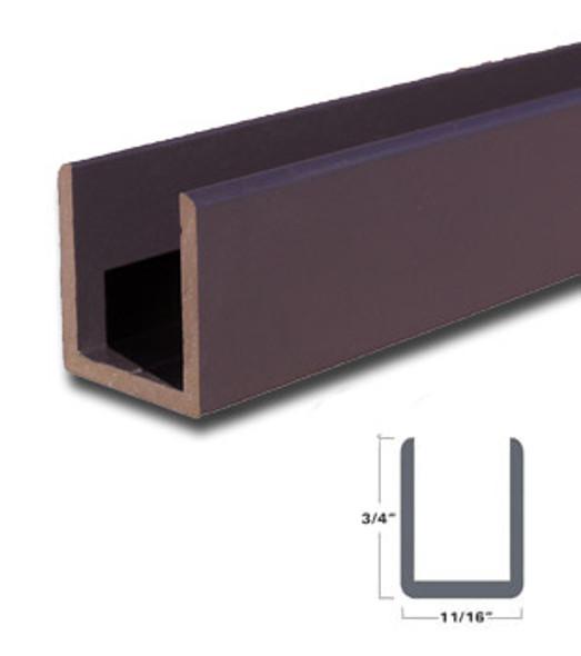 "Oil Rubbed Bronze Aluminum Deep U-Channel for 1/2"" Glass 47-7/8"" Long"