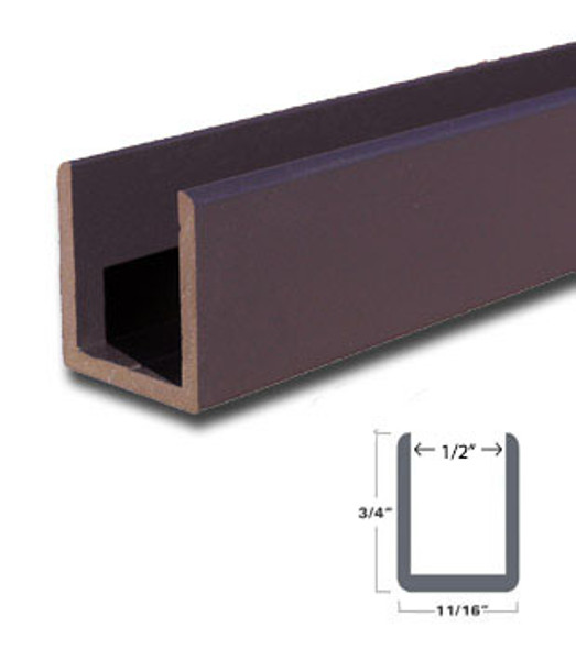 "Oil Rubbed Bronze Aluminum Deep U-Channel for 1/2"" Glass 95"" Long"