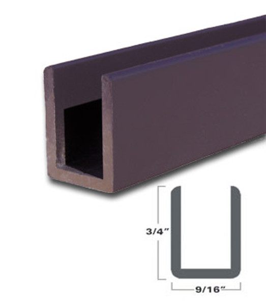 "Oil Rubbed Bronze Aluminum Deep U-Channel for 3/8"" Glass 47-7/8"" Long"