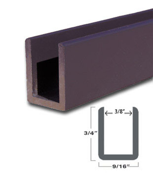 "Oil Rubbed Bronze Aluminum Deep U-Channel for 3/8"" Glass 95"" Long"