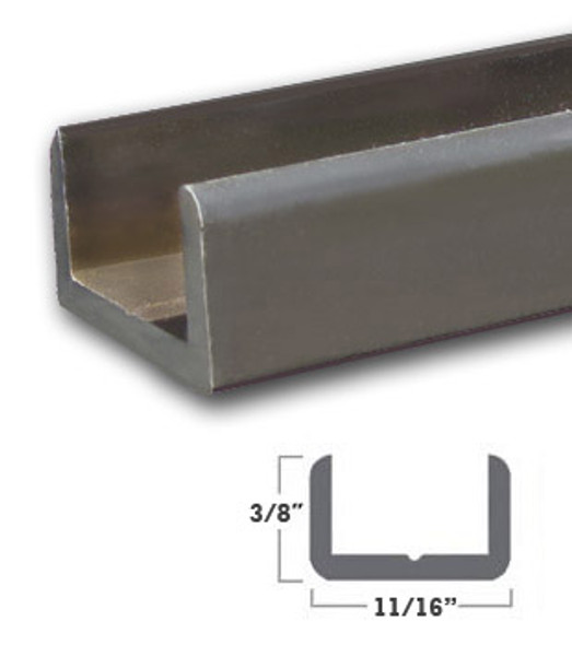 """Oil Rubbed Bronze Aluminum Shallow U-Channel for 1/2"""" Glass 47-7/8"""""""