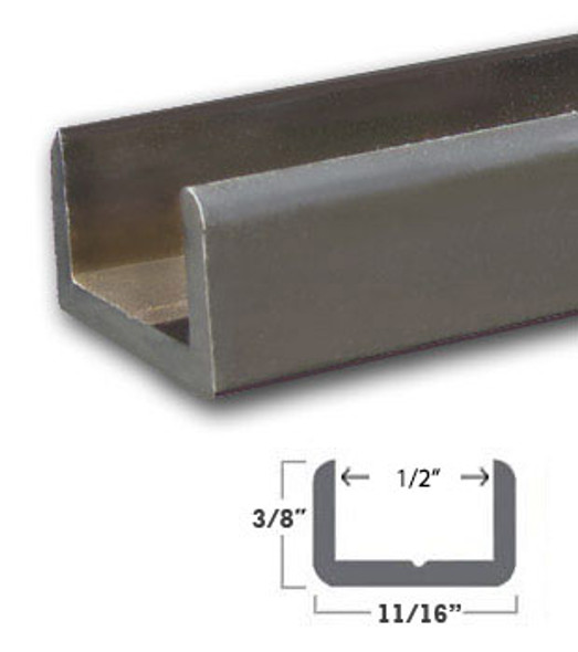"""Oil Rubbed Bronze Aluminum Shallow U-Channel for 1/2"""" Glass 95"""" Long"""