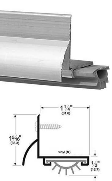 """Pemko 210AV36 Mill Finish Aluminum L Door Bottom with Vinyl Seal 36"""""""