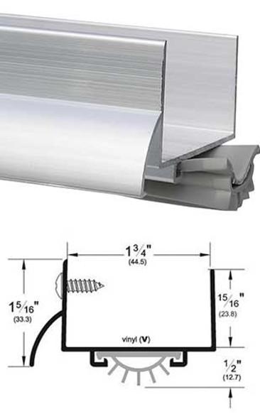 """Pemko 216AV36 Mill Finish Aluminum 1-3/4 U Door Bottom with Seal 36"""""""