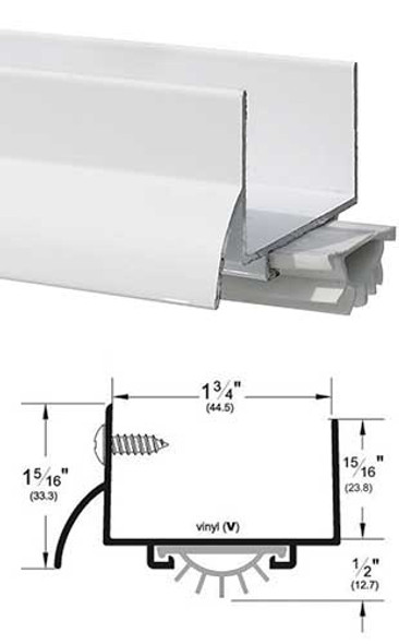 "Pemko 216PWV36 White Aluminum 1-3/4 U Door Bottom w/Vinyl Seal 36"""