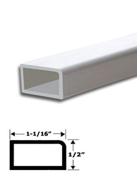 """1-1/16"""" x 5/8"""" White Vinyl Stop Trim With Tape 95"""" Long"""