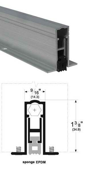 "Pemko 411ARL36 Automatic Door Bottom 9/16"" Mill Aluminum/EPDM 36"""