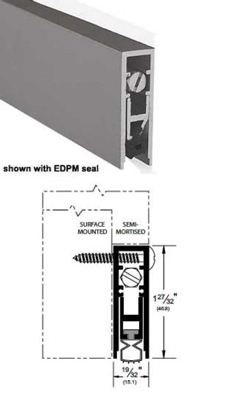 """Pemko 4131CPKL36 Auto Door Bottom 27/32"""" Clear Aluminum/Neoprene 36"""""""