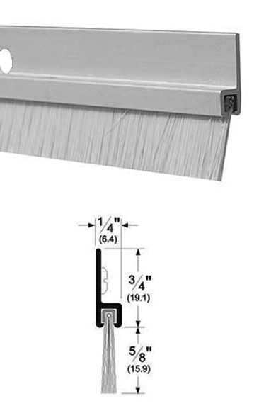 "Pemko 18061CNB48 Clear Anodized Aluminum with 5/8"" Brush Door Sweep 48"""