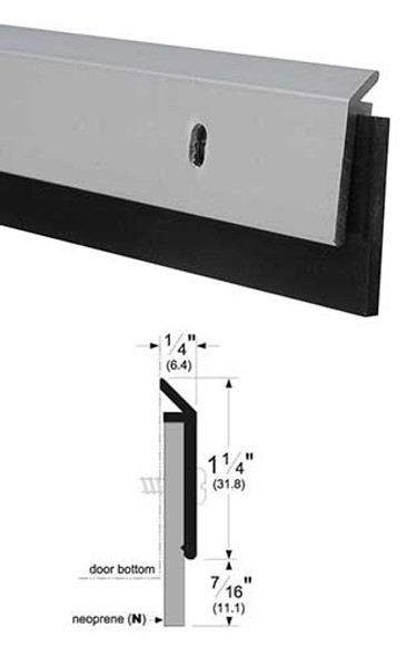"Pemko 315CN48 Clear Anodized Aluminum with 7/16"" Neoprene Door Sweep 48"""