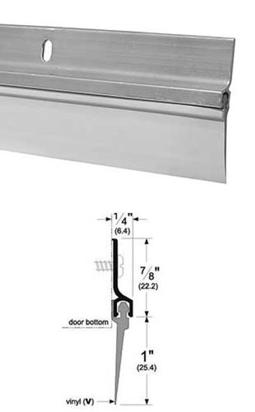 "Pemko 307AV48 Mill Finish Aluminum with 1"" Vinyl Door Sweep 48"""
