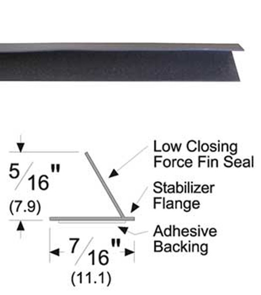 "Pemko S44D17 Adhesive Fin Smoke Seal Gasket 5/16"" x 7/16"" Brown 17'"