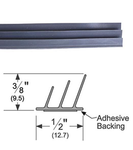 "Pemko S773BL17 Adhesive Triple Fin Seal Gasket 3/8"" x 1/2"" Black 17'"