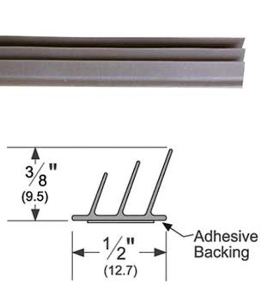 """Pemko S773D18 Adhesive Triple Fin Seal Gasket 3/8"""" x 1/2"""" Dk Brown 18'"""