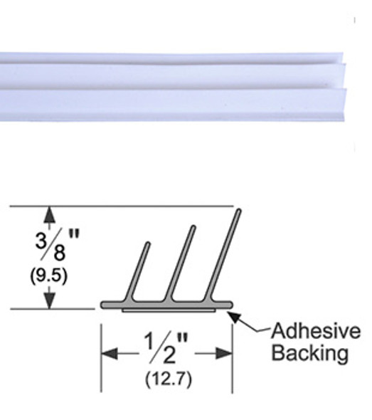 "Pemko S773W17 Adhesive Triple Fin Seal Gasket 3/8"" x 1/2"" White 17'"