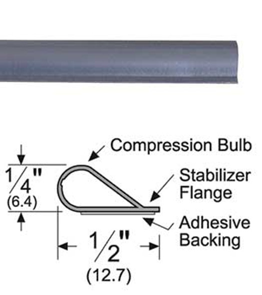 "Pemko S88BL17 Adhesive Bulb Smoke Seal Gasket 1/4"" x 1/2"" Black 17'"