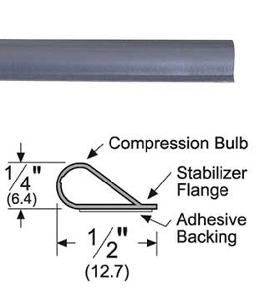 "Pemko S88BL20 Adhesive Bulb Smoke Seal Gasket 1/4"" x 1/2"" Black 20'"