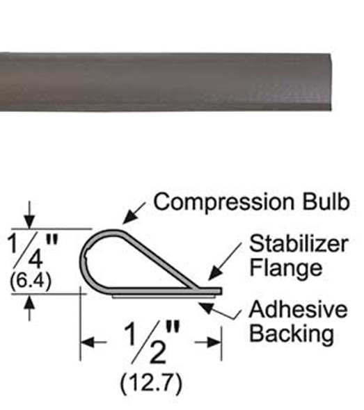 """Pemko S88D20 Adhesive BulbSmoke Seal Gasket 1/4"""" x 1/2"""" Brown 20'"""
