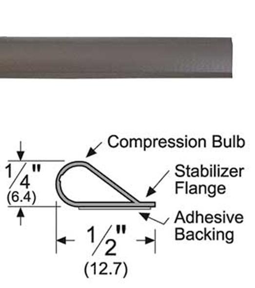 "Pemko S88D25 Adhesive Bulb Smoke Seal Gasket 1/4"" x 1/2"" Brown 25'"