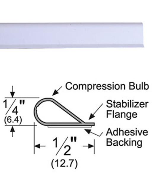 "Pemko S88W20 Adhesive Bulb Smoke Seal Gasket 1/4"" x 1/2"" White 20'"