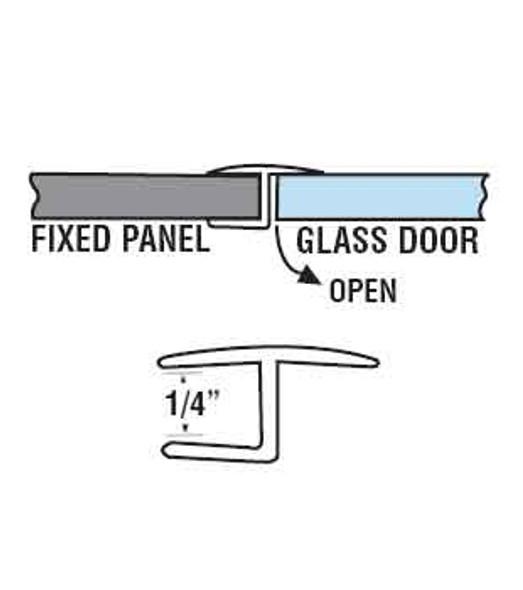 "Polycarbonate ""H"" Shower Door or Strike Jamb For 1/4"" Glass- 95"" Long"