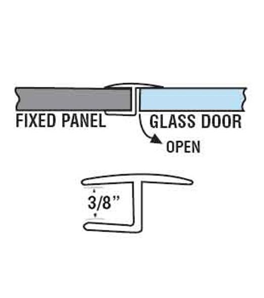 "Polycarbonate ""H"" Shower Door or Strike Jamb For 3/8"" Glass- 95"" Long"