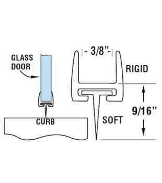 "Polycarbonate Shower Door Rail and Wipe Seal For 3/8"" Glass- 48"" Long"
