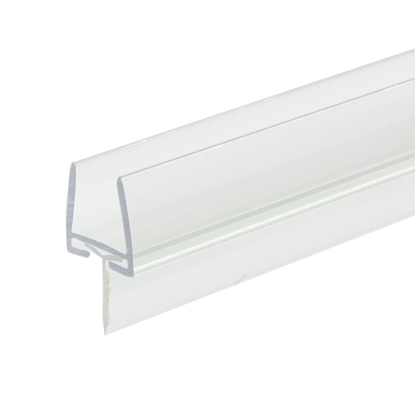 """Polycarbonate Shower Door Rail and Wipe Seal For 3/8"""" Glass- 48"""" Long"""