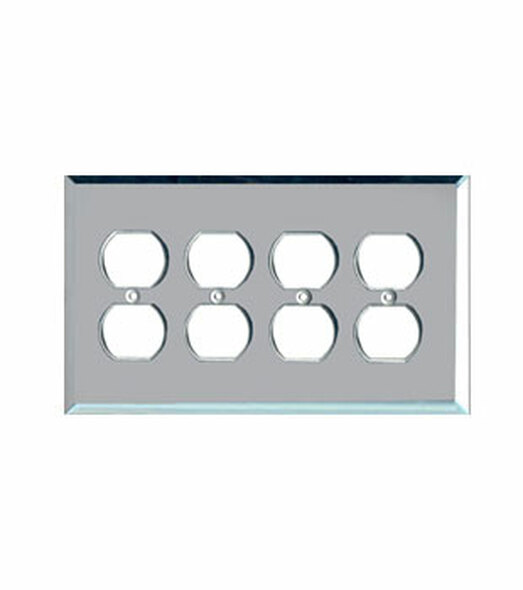 Quad Duplex Glass Mirror Outlet Cover Plate