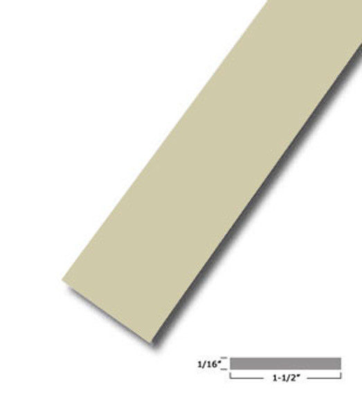 "1-1/2"" X .075"" Almond Vinyl Flat Bar Window Trim with Tape -12 ft Long"