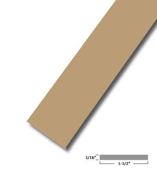 "1-1/2"" X .075"" Tan Vinyl Flat Bar Window Trim with Tape -12 ft Long"
