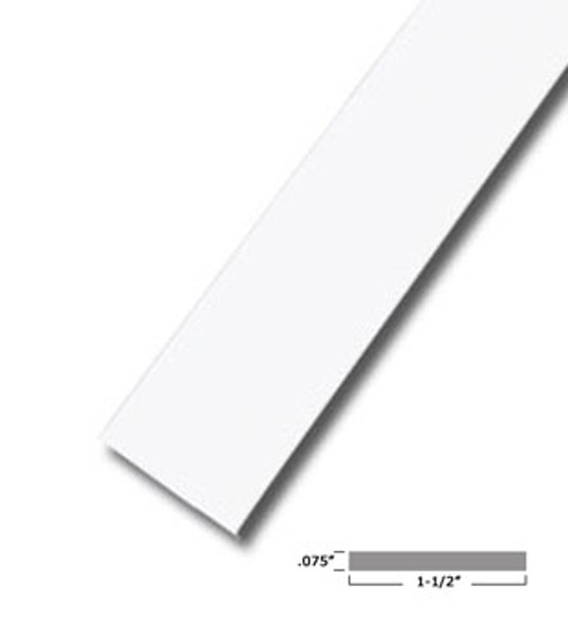 "1-1/2"" X .075"" White Vinyl Flat Bar Window Trim with Tape -12 ft Long"